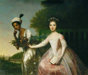 Portrait of Dido Elizabeth Belle (left) and Lady Elizabeth Murray. From the collection of the Earl of Mansfield, Scone Palace, Perth.